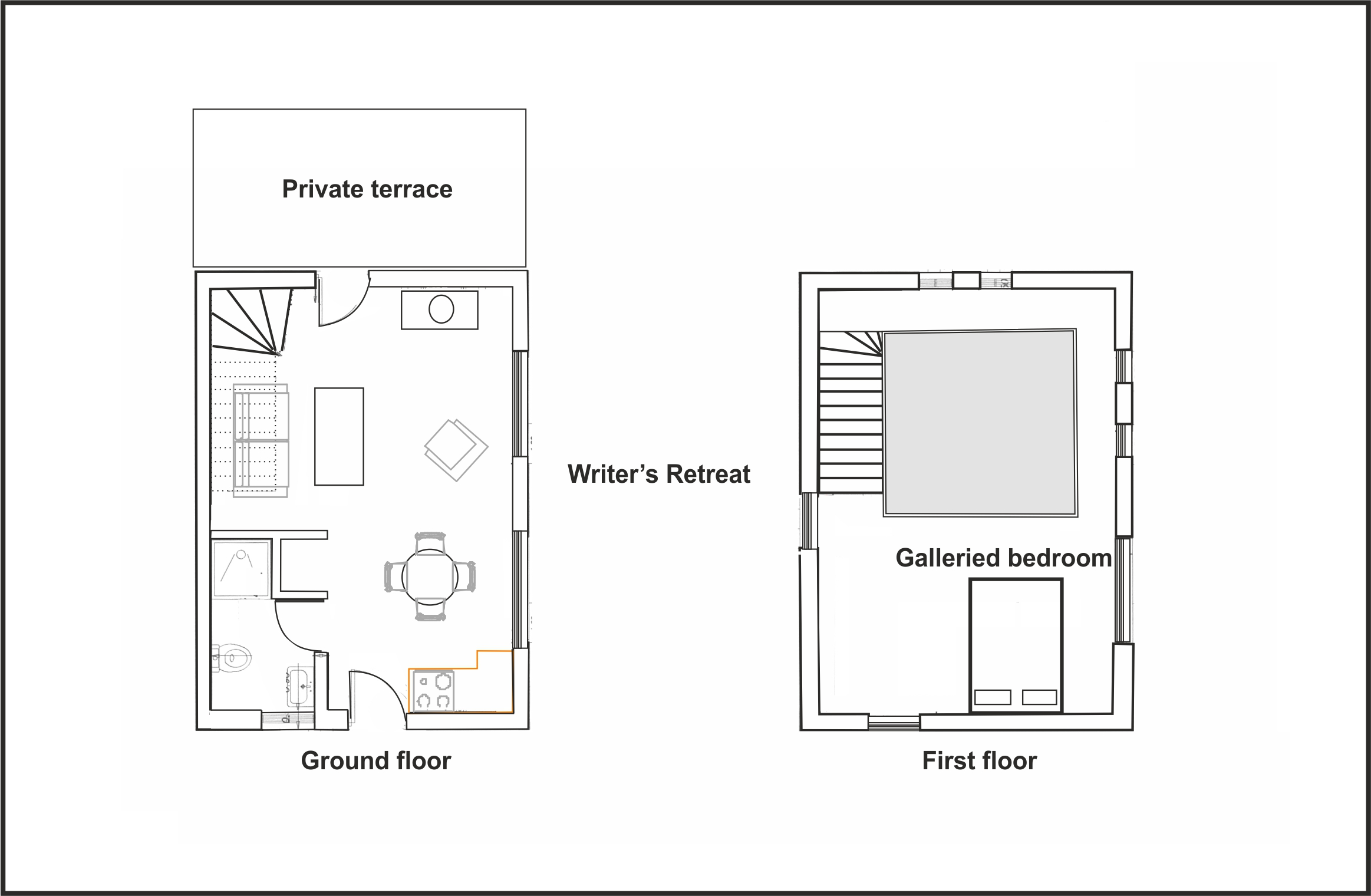 Floor plan of Writer's Retreat